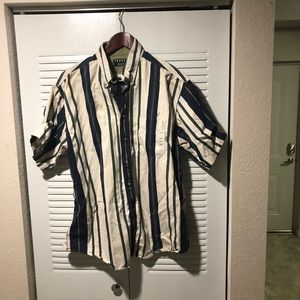 Trader Bay Striped Short Sleeve Shirt.  Size L.